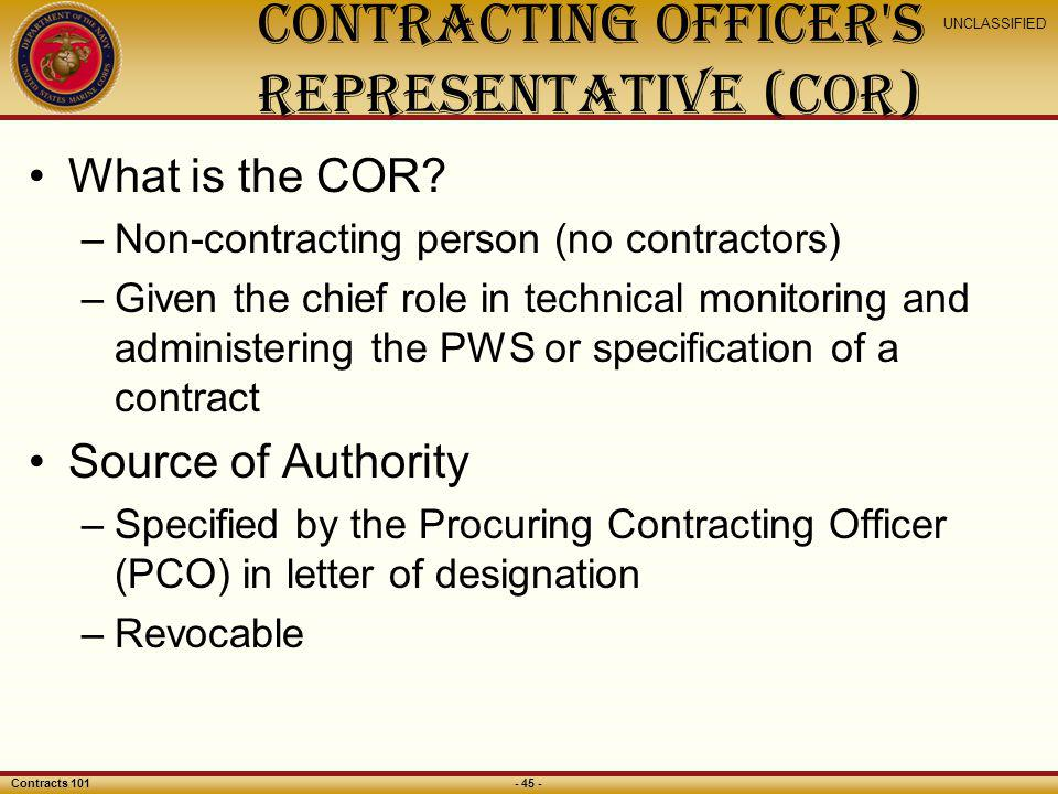 Contracting officer s Representative (COR)