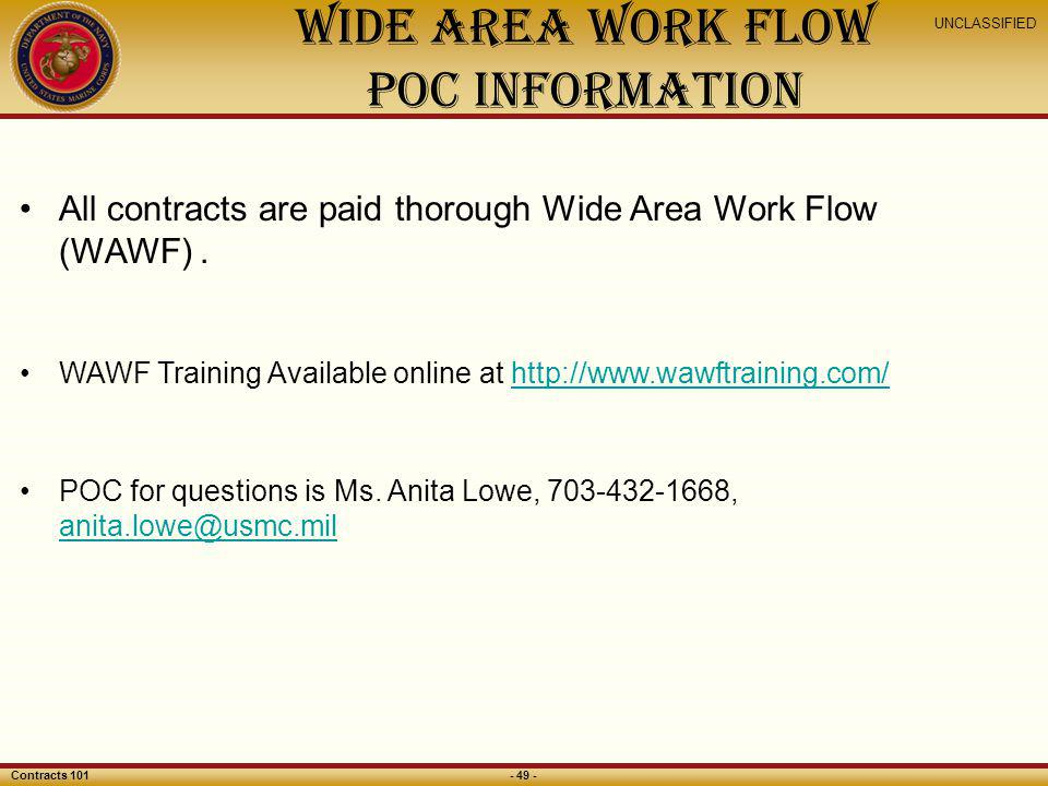 Wide Area Work Flow POC Information