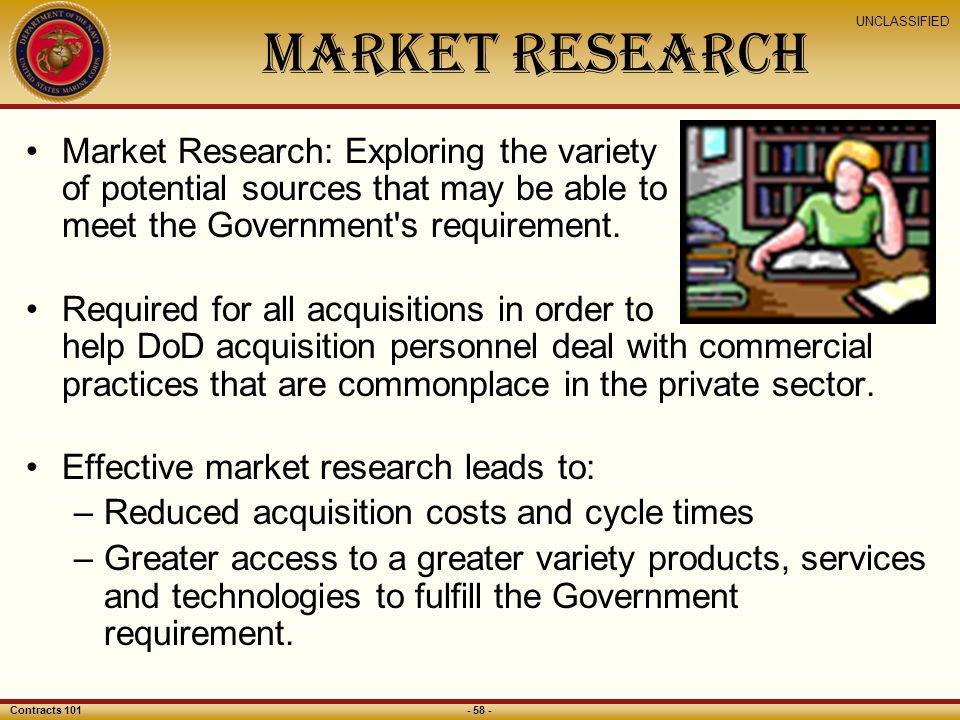 Market Research Market Research: Exploring the variety of potential sources that may be able to meet the Government s requirement.