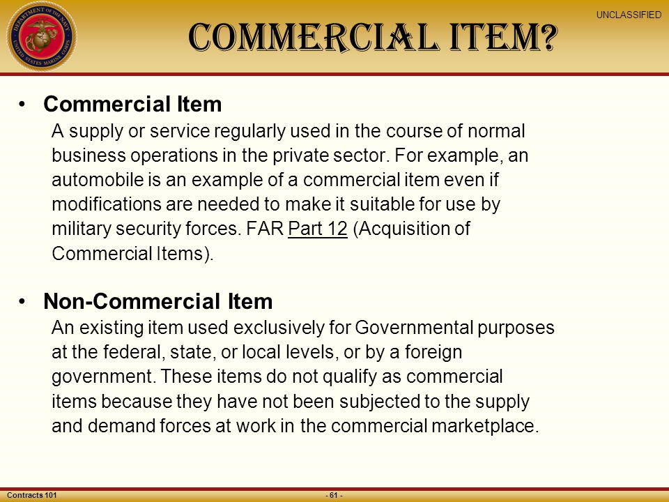 Commercial Item Commercial Item Non-Commercial Item