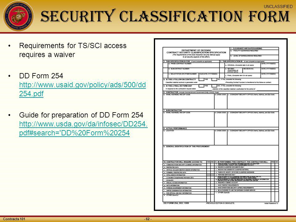Security Classification Form