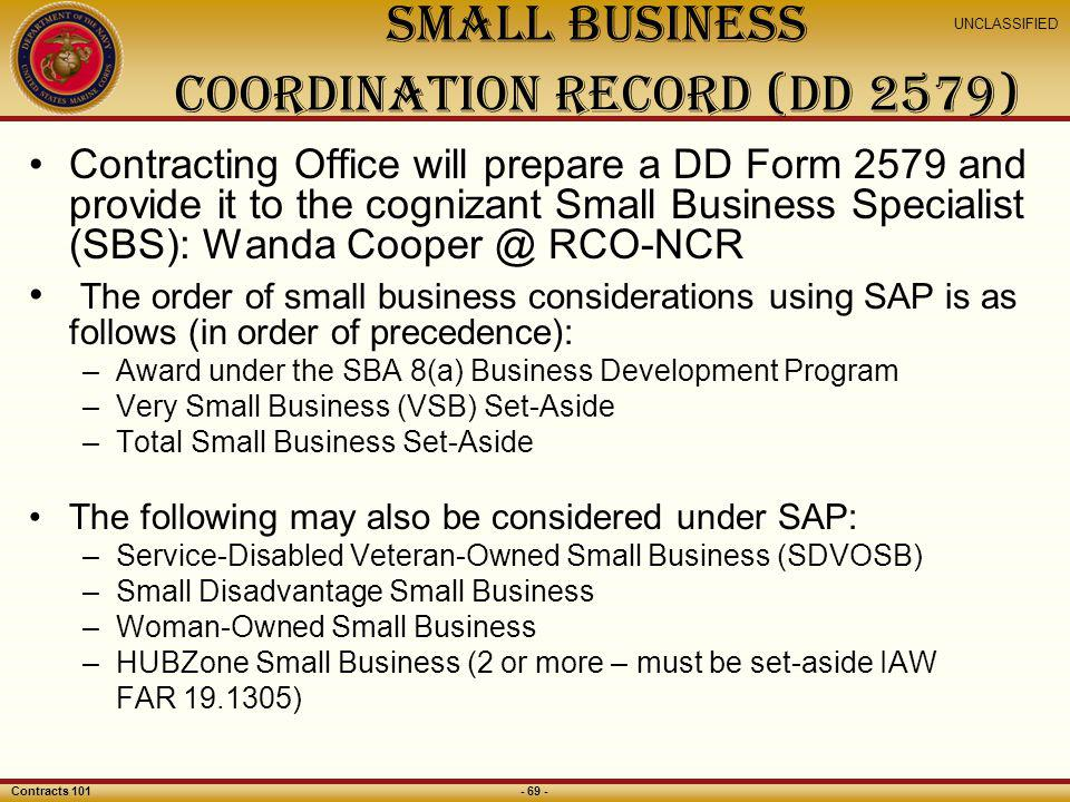 Small Business Coordination Record (DD 2579)