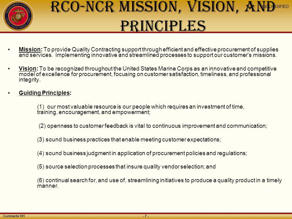 RCO-NCR Mission, Vision, and Principles