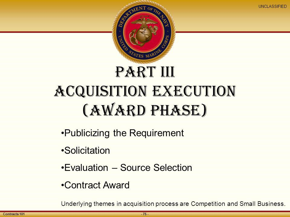 Part III acquisition Execution (award Phase)