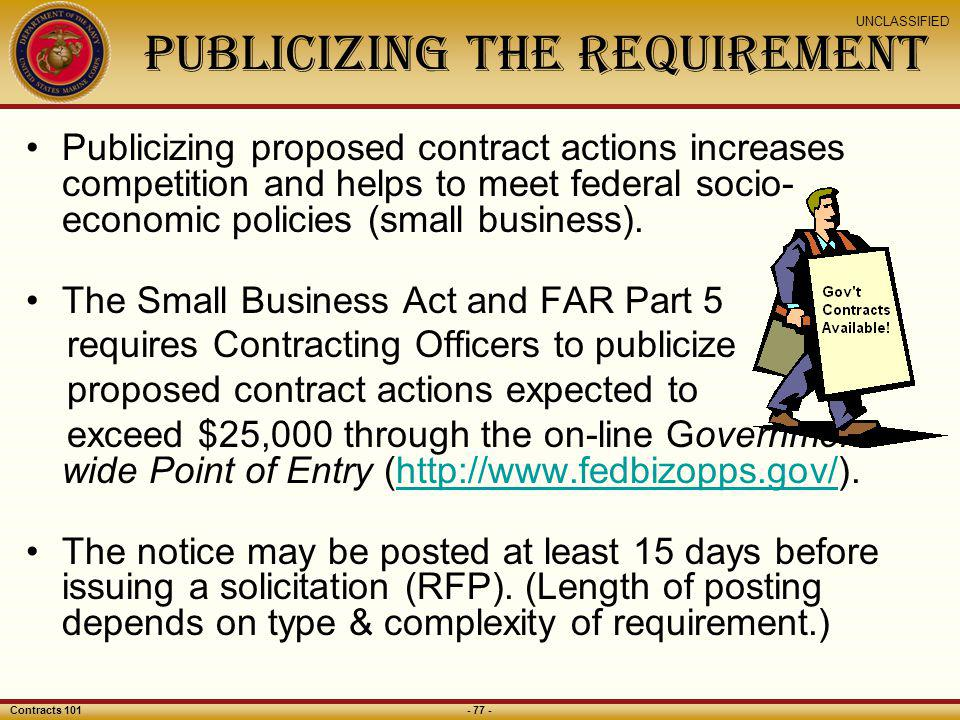 Publicizing the Requirement