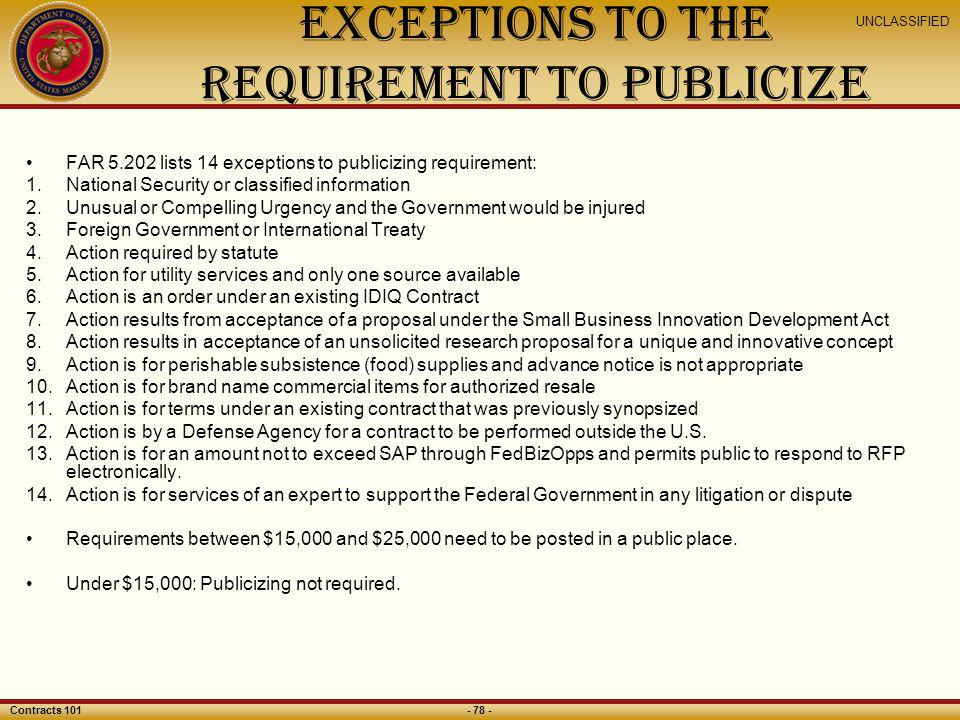 Exceptions to the Requirement to Publicize