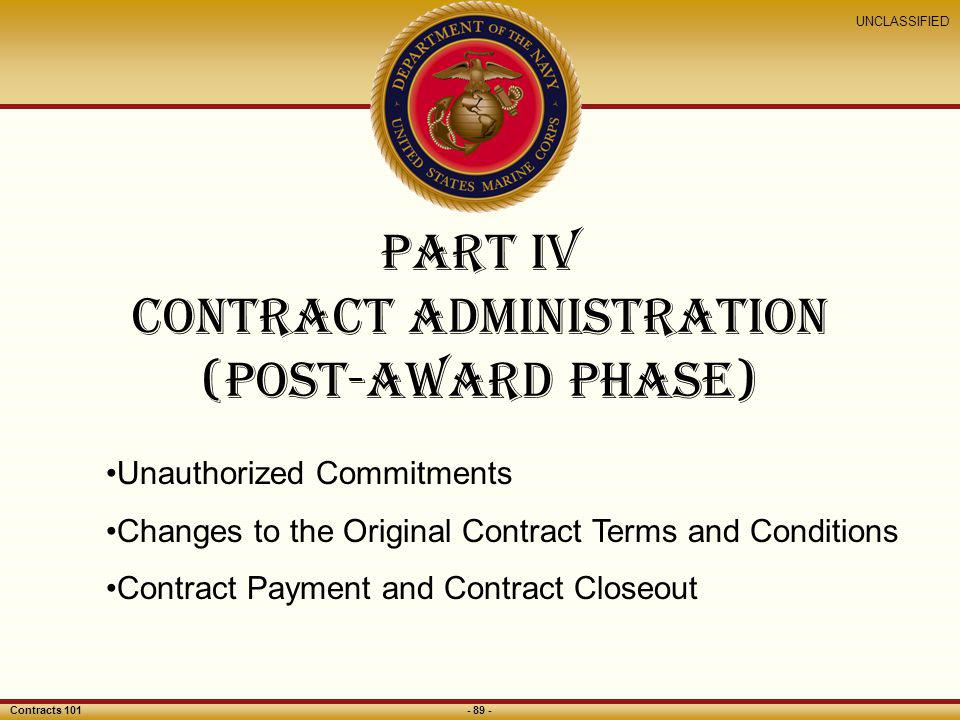Part iv contract administration (Post-award phase)
