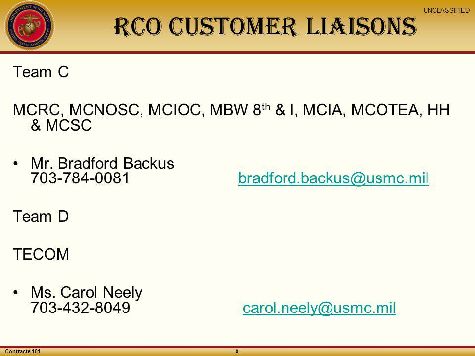 RCO customer liaisonS Team C