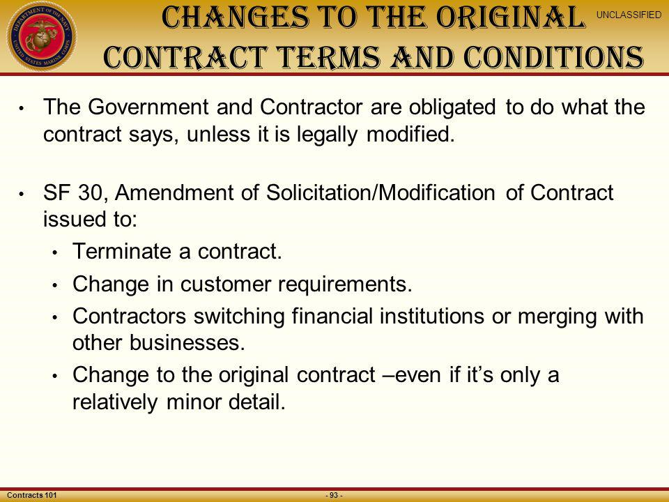 Changes to the Original Contract Terms and Conditions