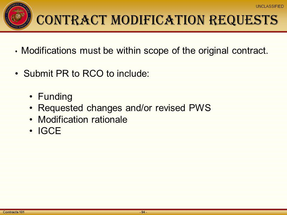 CONTRACT MODIFICATION REQUESTS