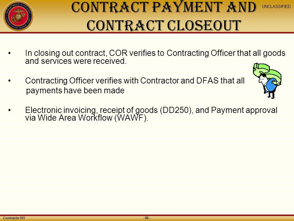 Contract Payment and Contract Closeout