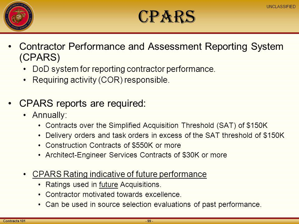 CPARS Contractor Performance and Assessment Reporting System (CPARS)