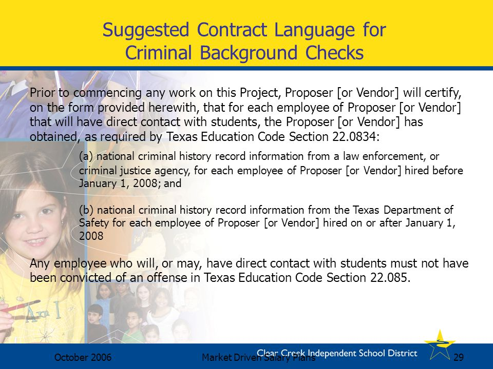 Suggested Contract Language for Criminal Background Checks