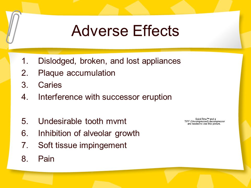 Adverse Effects Dislodged, broken, and lost appliances