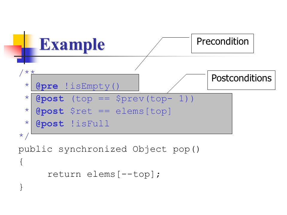 Example Precondition /** Postconditions !isEmpty()