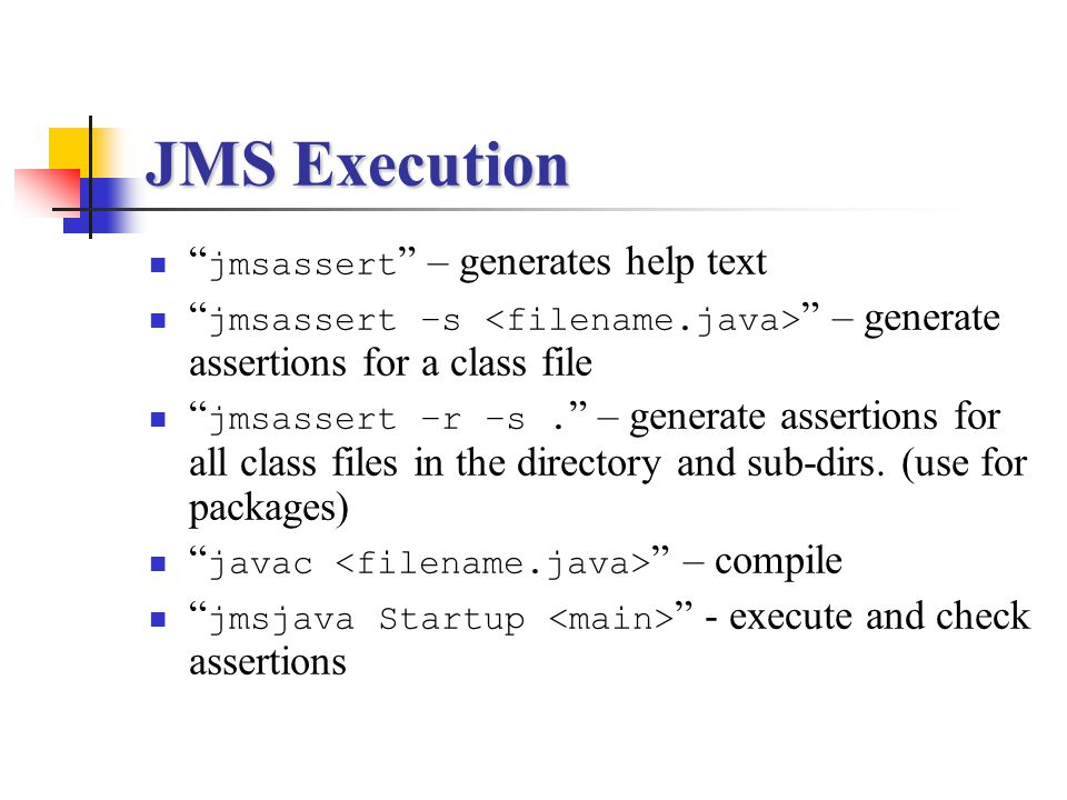 JMS Execution jmsassert – generates help text