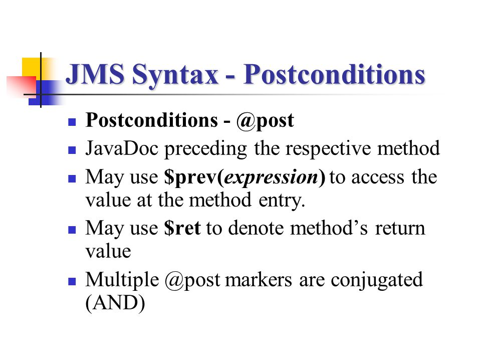 JMS Syntax - Postconditions