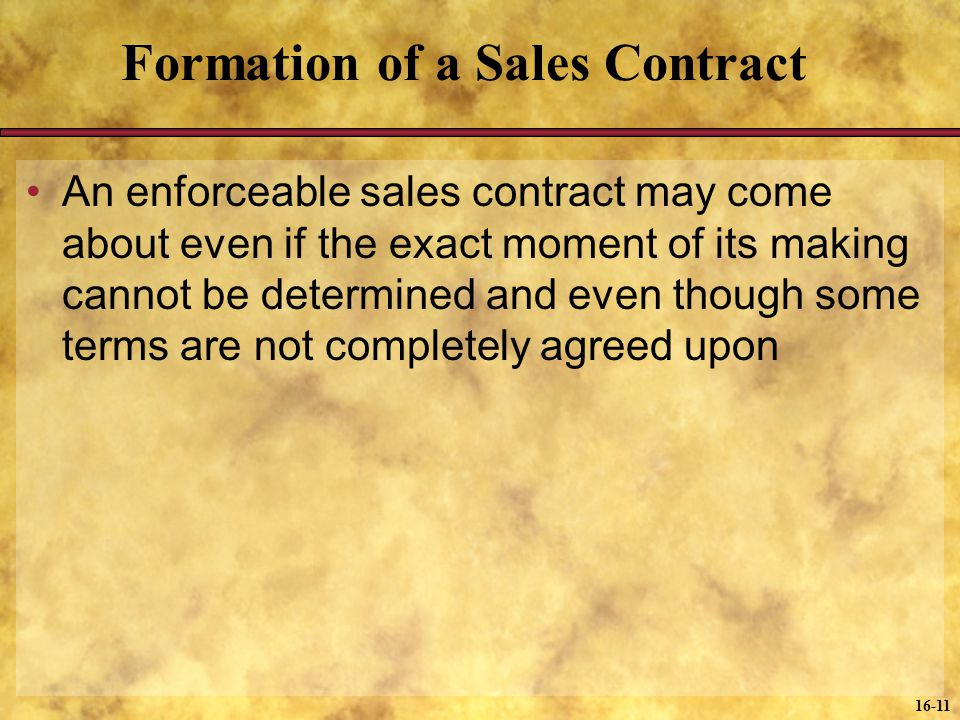 Formation of a Sales Contract