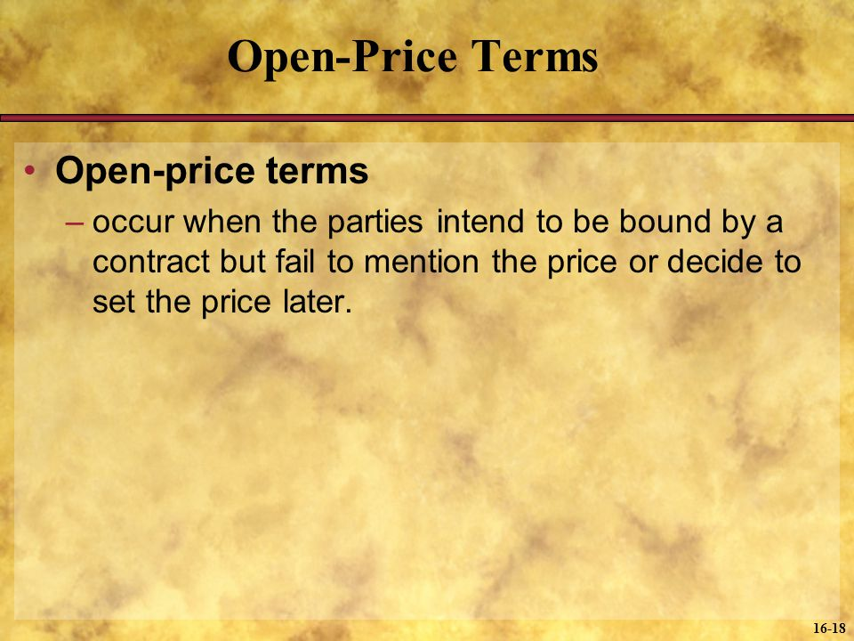 Open-Price Terms Open-price terms
