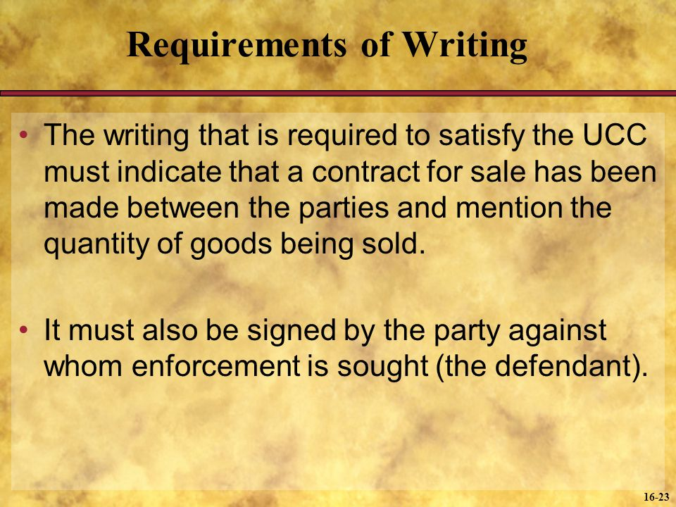 Requirements of Writing