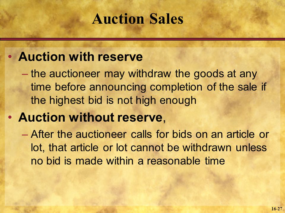 Auction Sales Auction with reserve Auction without reserve,
