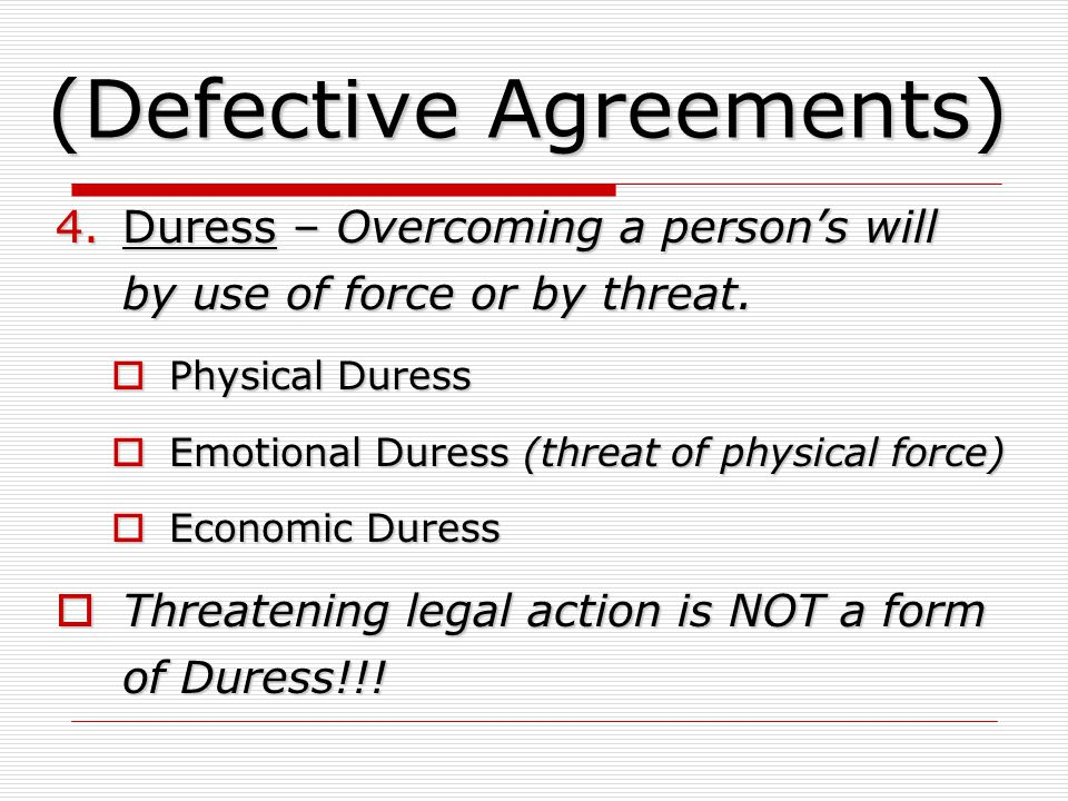 (Defective Agreements)