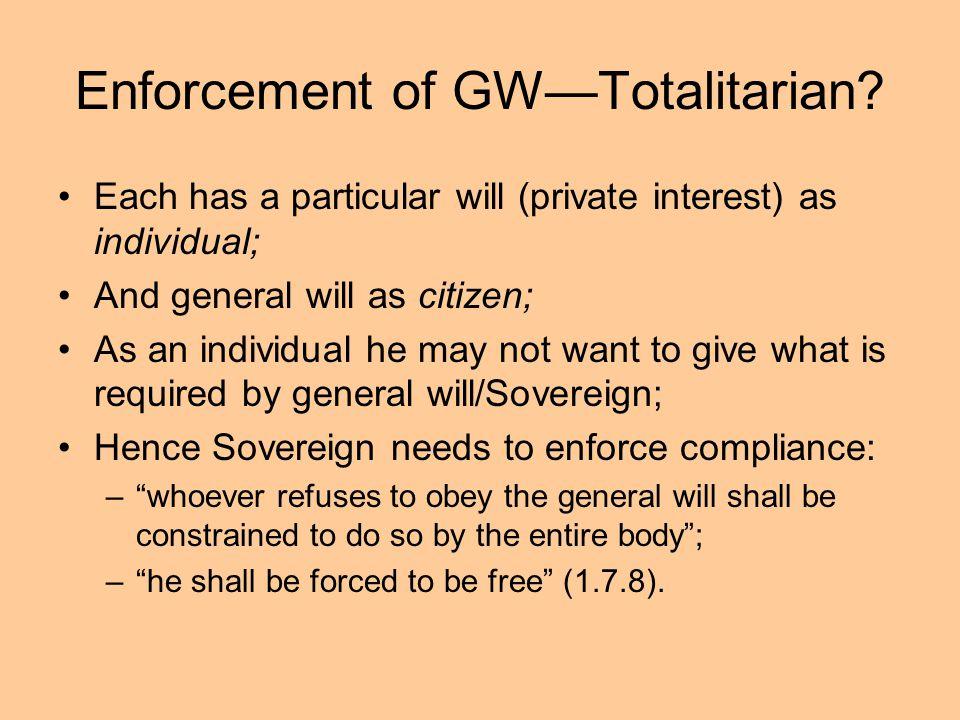 Enforcement of GW—Totalitarian