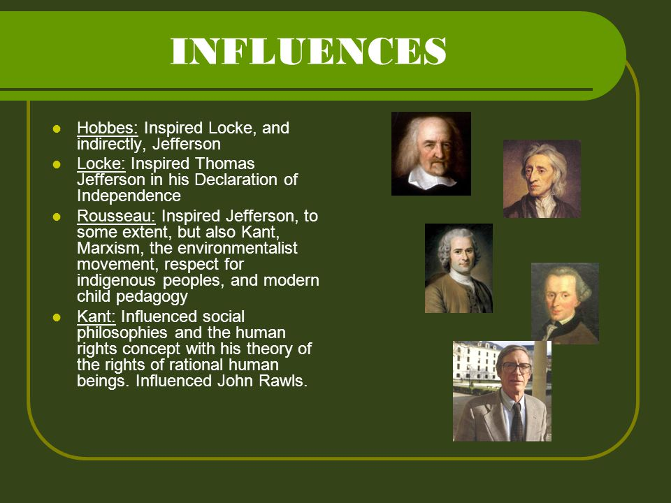 INFLUENCES Hobbes: Inspired Locke, and indirectly, Jefferson