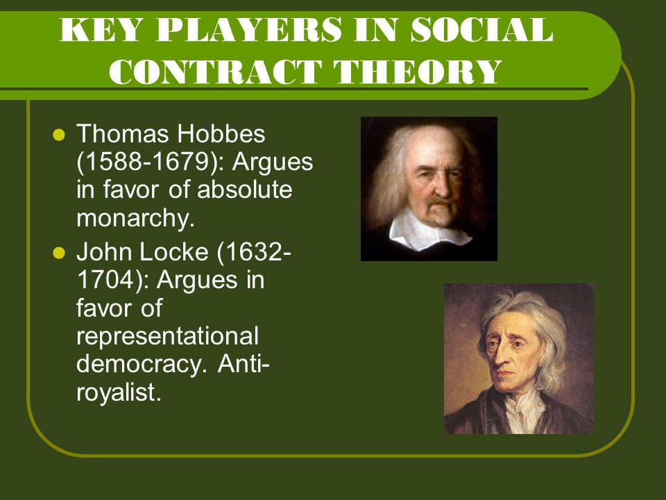 KEY PLAYERS IN SOCIAL CONTRACT THEORY