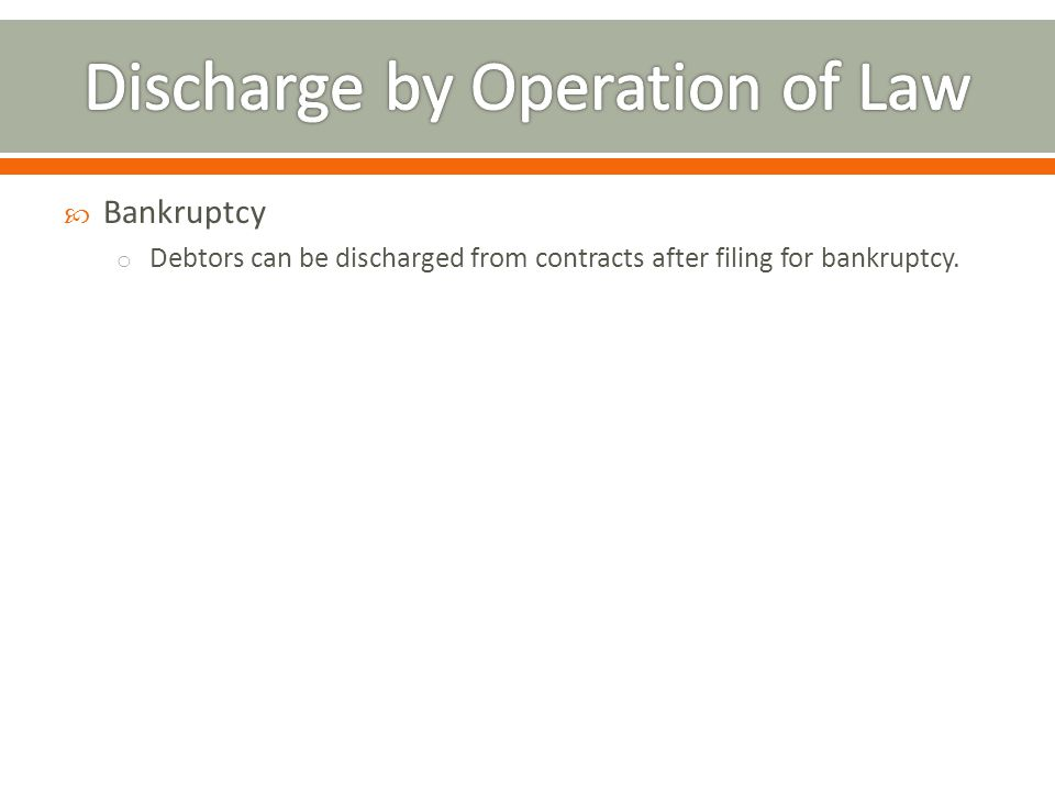 Discharge by Operation of Law