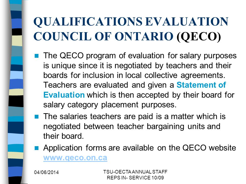 QUALIFICATIONS EVALUATION COUNCIL OF ONTARIO (QECO)