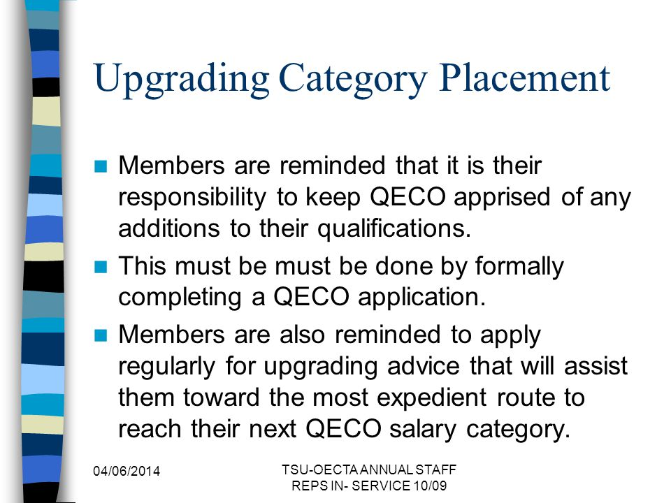 Upgrading Category Placement