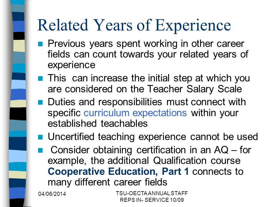 Related Years of Experience
