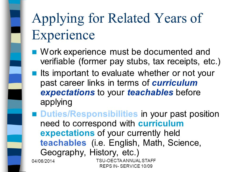 Applying for Related Years of Experience