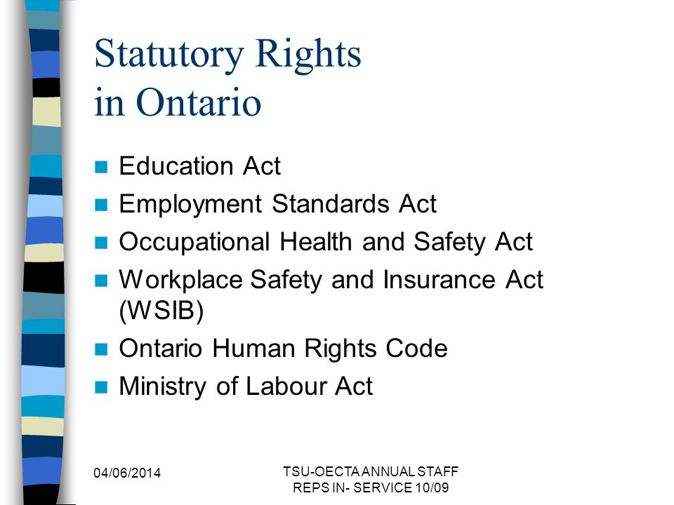 Statutory Rights in Ontario