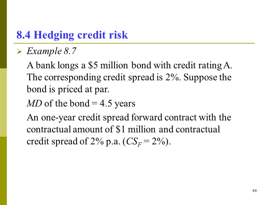 8.4 Hedging credit risk Example 8.7