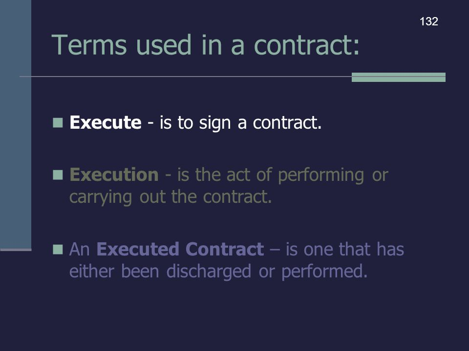 Terms used in a contract:
