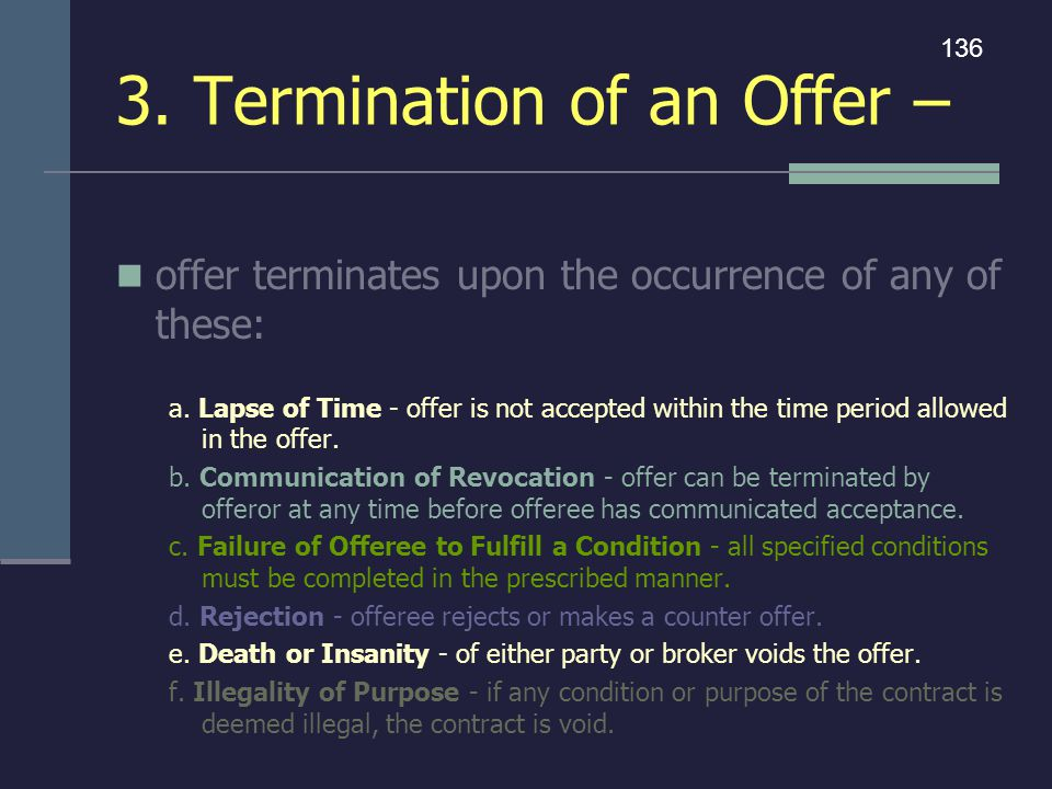 3. Termination of an Offer –