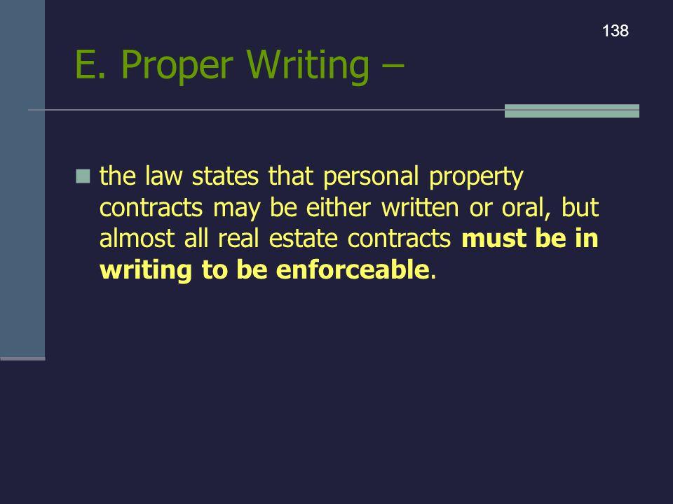 E. Proper Writing – 138.