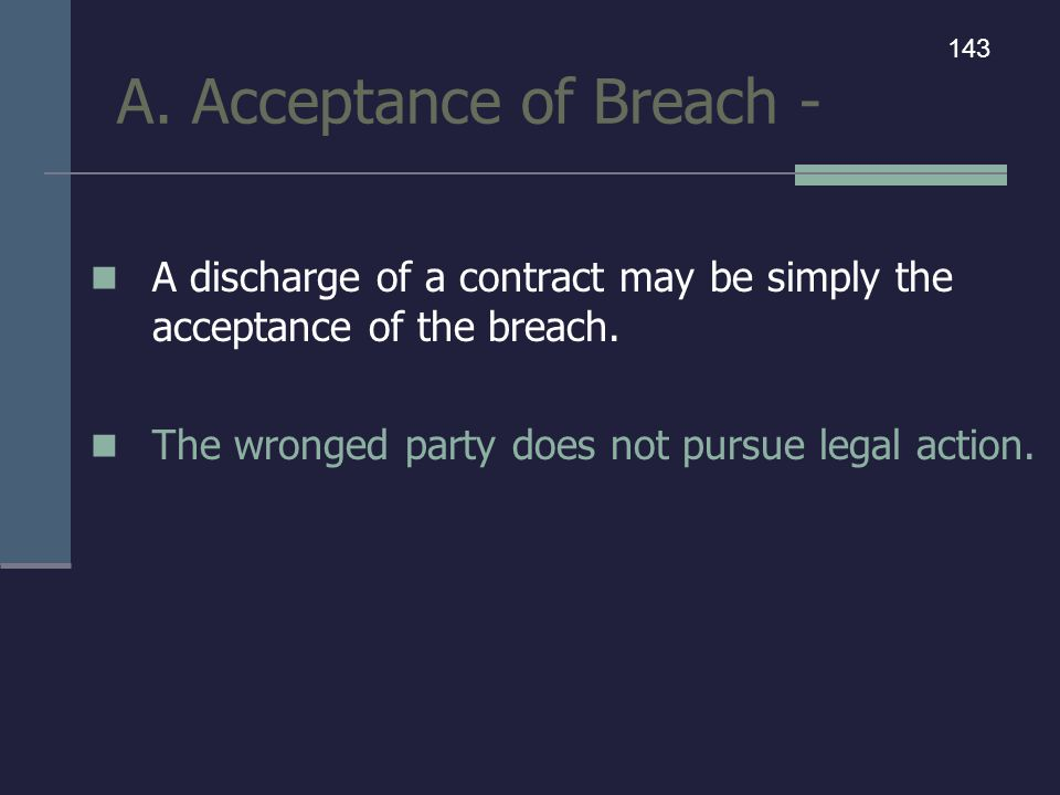 A. Acceptance of Breach -