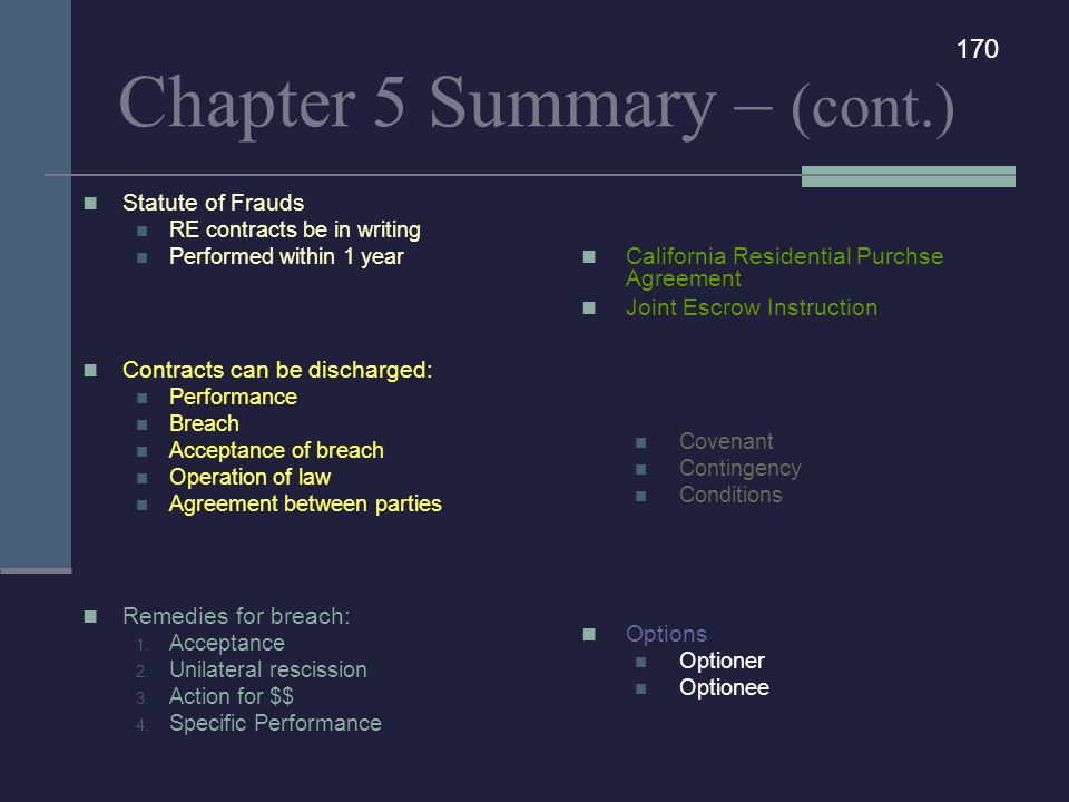 Chapter 5 Summary – (cont.)