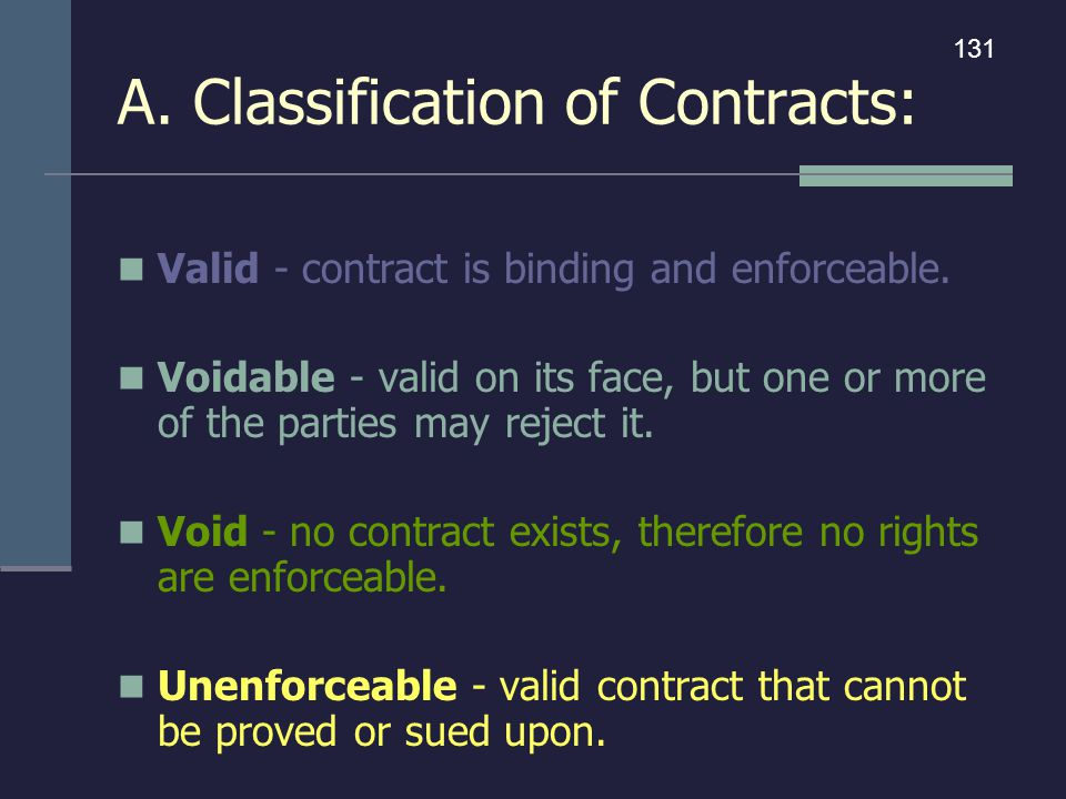 A. Classification of Contracts: