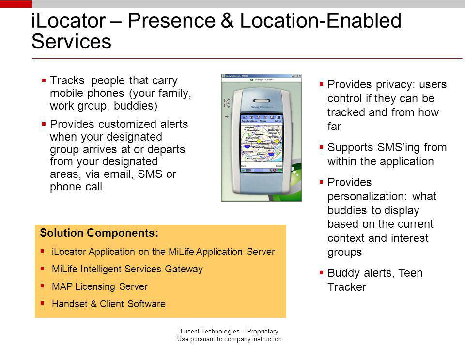 iLocator – Presence & Location-Enabled Services