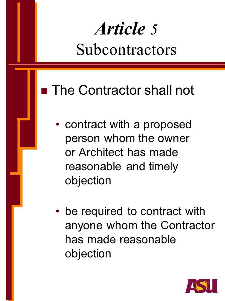 Article 5 Subcontractors