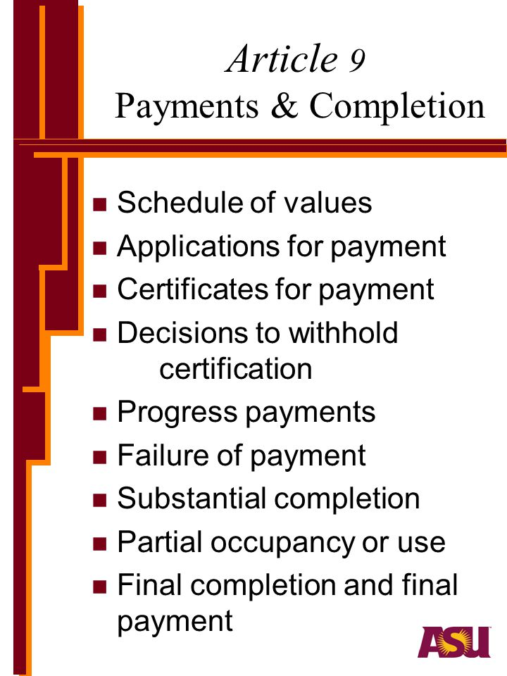 Article 9 Payments & Completion