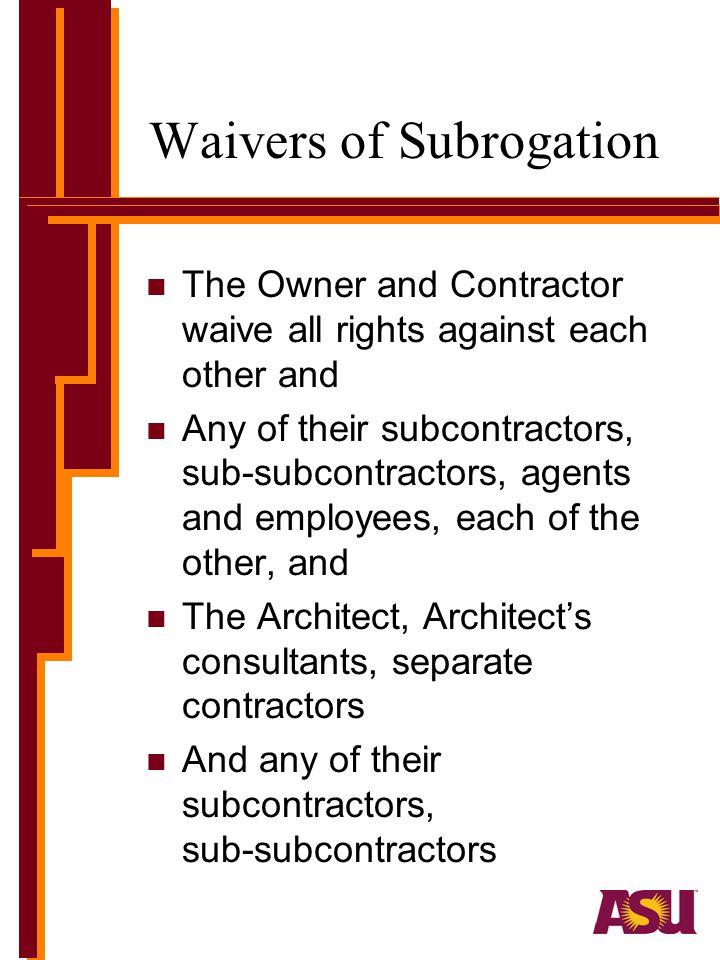 Waivers of Subrogation