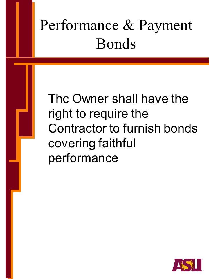 Performance & Payment Bonds