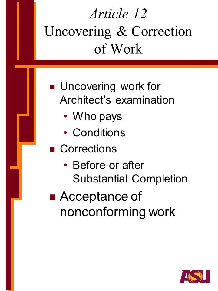 Article 12 Uncovering & Correction of Work