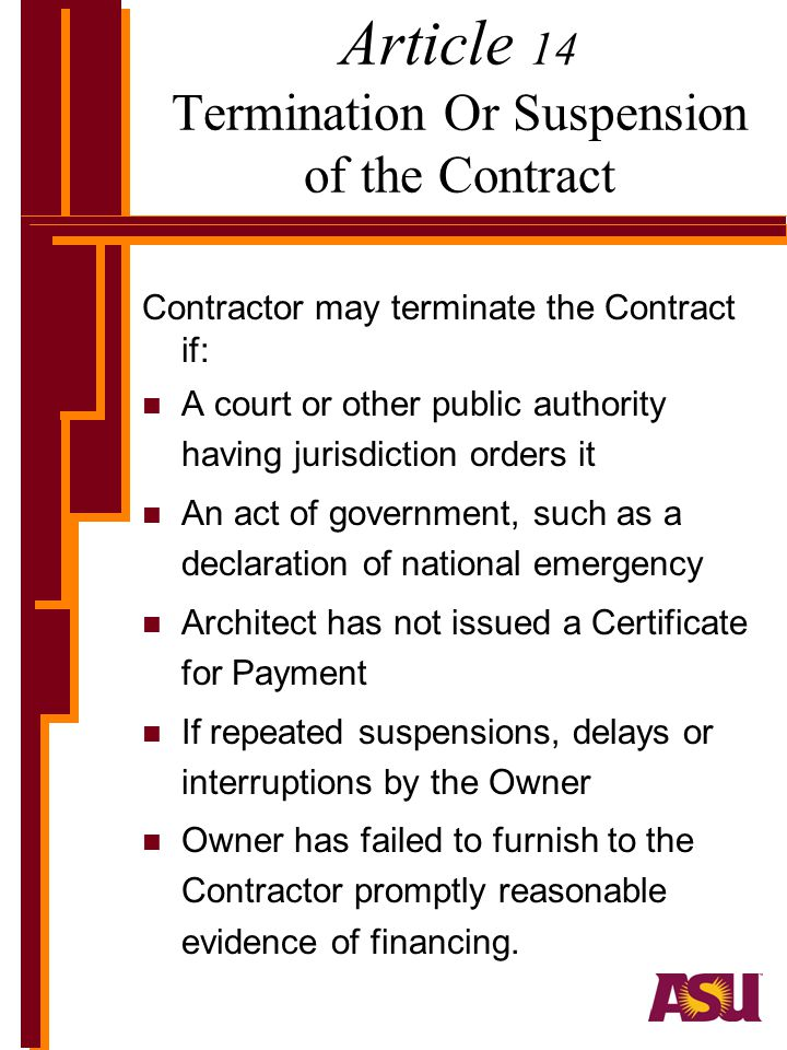 Article 14 Termination Or Suspension of the Contract