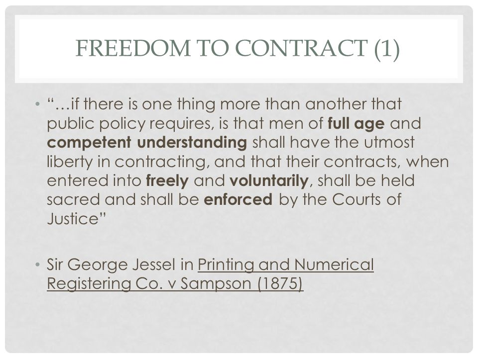Freedom to contract (1)